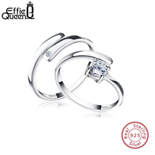 Effie Queen S925 Silver Engarved Name Resizable Couple Ring for Women Men Zircon DIY Wedding Engagement Jewelry TSR22