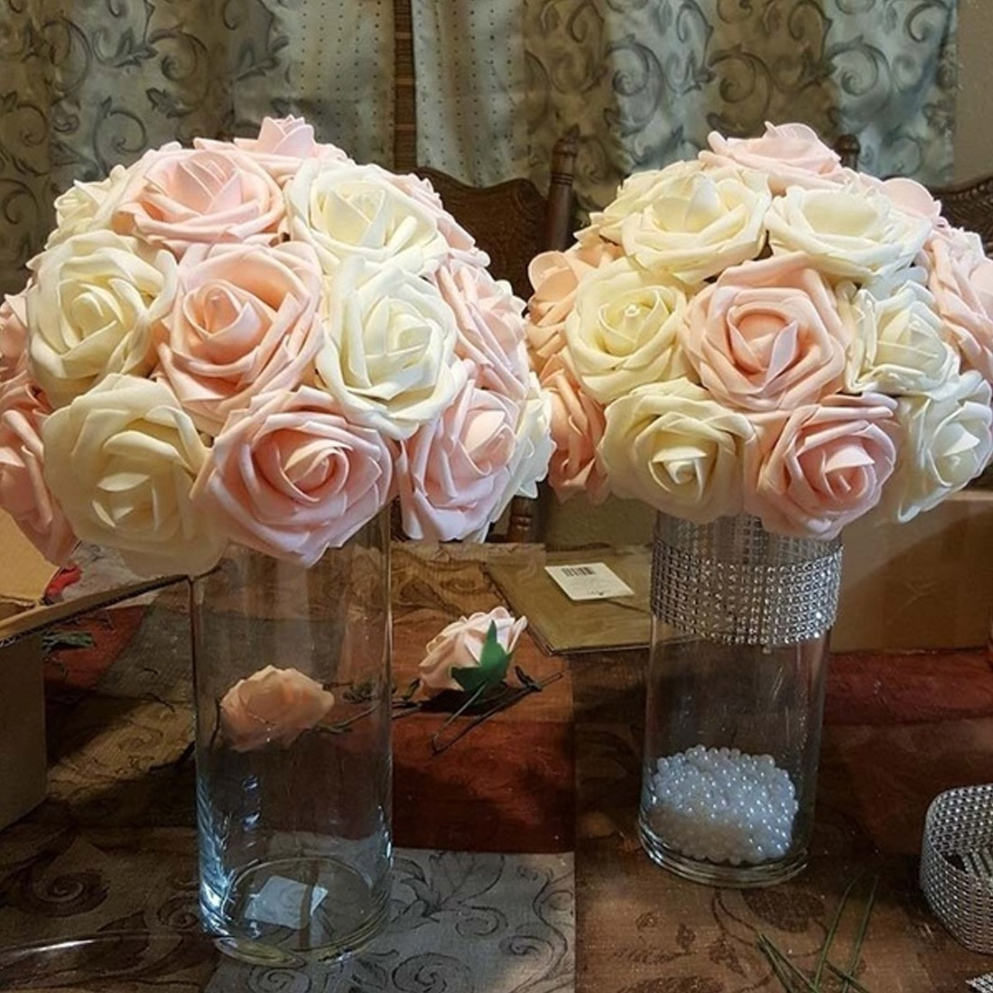 Foam Rose 10 Heads 6CM  Artificial Flowers PE Flowers Bride Bouquet Home Wedding Decor Pretty Charming DIY Supplies