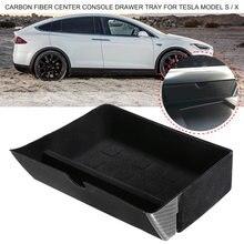 Caixa De Armazenamento de Acessórios Interiores do carro De Fibra De Carbono Centro Console Gaveta Bandeja para Tesla Model S/X 2012-2019