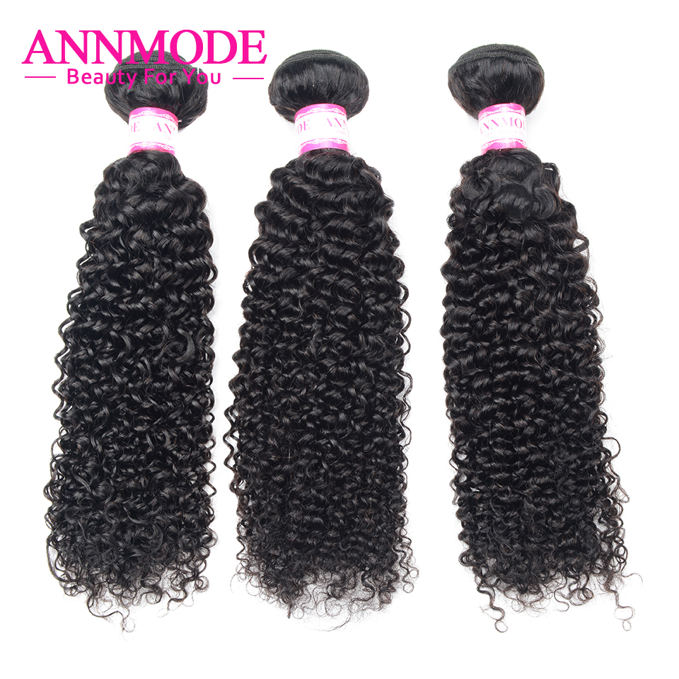 Annmode Afro Kinky Curly Hair 3/4 Pc Natural Color 8-26inch Brazilian Hair Weave Bundles Non Remy Human Hair Extensions