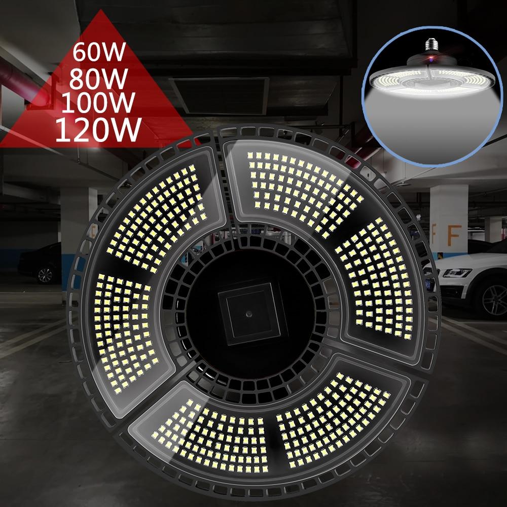 E27 UFO LED Lamp 60W 80W 100W 120W LED Bulb Light Sensor Garage Light 220V Lampada Led Deformable Lamp E26 Warehouse Light 110V
