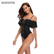 New Sexy Off Shoulder Swimsuit Women One Piece Suit Hollow Bathing Suit S-XL Girl Solid Color Swimwear Backless Padded Monokini new arrival sport swimwear one piece swimsuit women padded monokini sexy backless bodysuits swimming bathing suit size s m l xl
