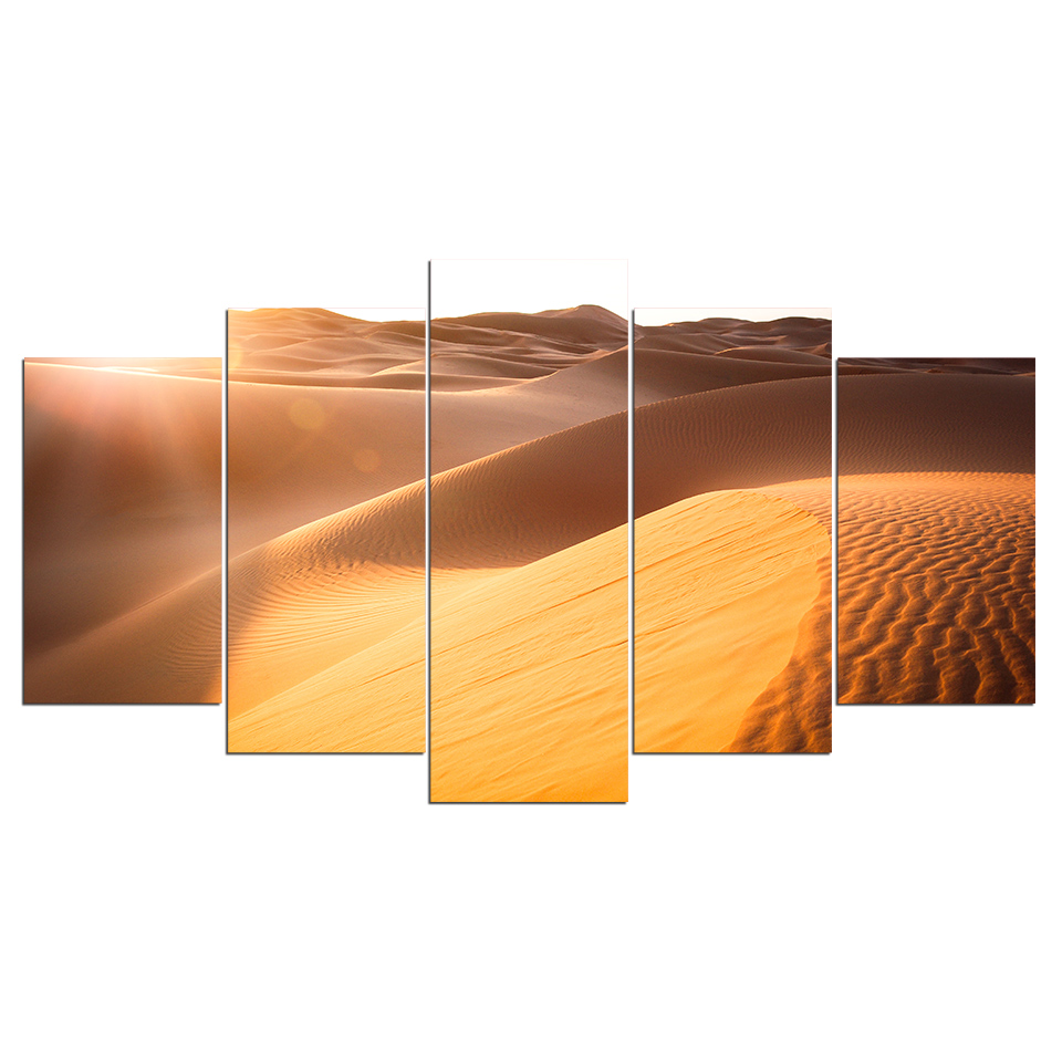 US $10.94 45% OFF|5 Panel Sunshine Desert Modern Canvas Wall Art Modular  Framework HD Printed Painting Living Room Pictures Home Decor Poster on ...