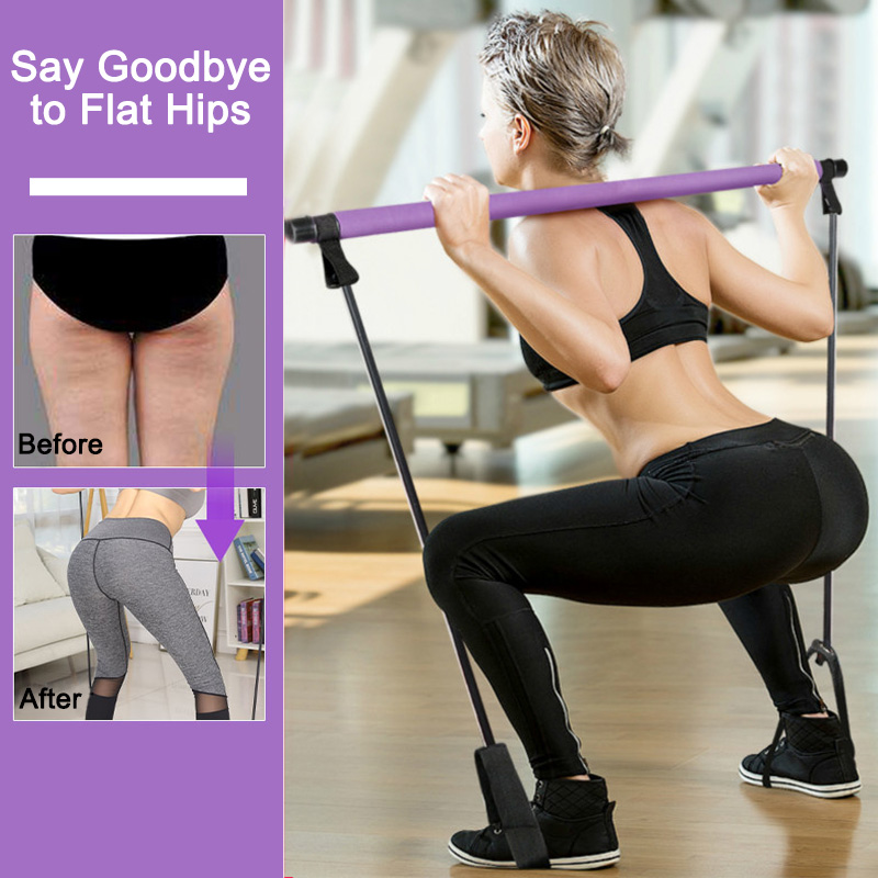 Pilates Stick Bar With Resistance Bands Gym Equipment For Home Workout Crossfit Bodybuilding Fitness Yoga Exercise Seeknfind