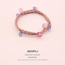 Sempli High Elasticity Korean Style Double Color Bead Elastic Hair Bands For Women Girls Kid Rubber Band New Design Headwear