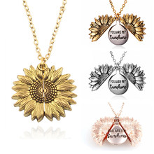 2019 New Arrival You Are My Sunshine Necklace Alloy Open Locket Sunflower Necklaces Women Gift Gold Pendant(China)