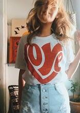 Bonito mais amor 70s inspirado senhoras t verão vermelho coração design gráfico tshirt plus size algodão branco vintage doce casual tshirt