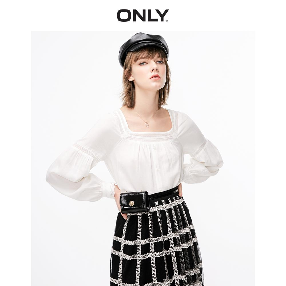 ONLY  Women's Loose Fit Square-cut Collar Lace Splice Chiffon Shirt | 119151513
