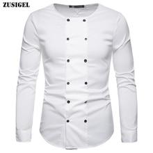 ZUSIGEL Collar White Shirt Double Breasted Black Shirt Mandarin Collar Shirt for Men Long Sleeve Slim Fit Muslim Shirts Men стоимость