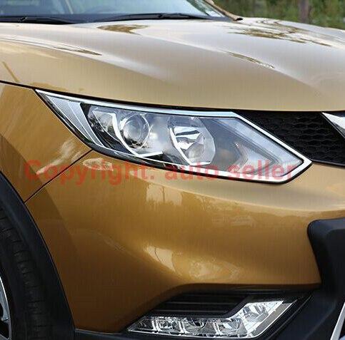 Pour Nissan Qashqai 2014 2015 2016 ABS Chrome Décorer Phare Avant Phare Lampe Couverture moulure de garnissage Cadre