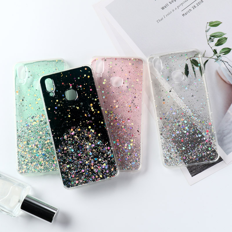 Bling Glitter <font><b>Case</b></font> For <font><b>OPPO</b></font> Reno Z Realme 3 C2 X2 Pro <font><b>Case</b></font> For <font><b>OPPO</b></font> Reno 2 Ace A1k A5 A9 2020 A79 A83 F11 Pro <font><b>F7</b></font> F9 R17 Covers image