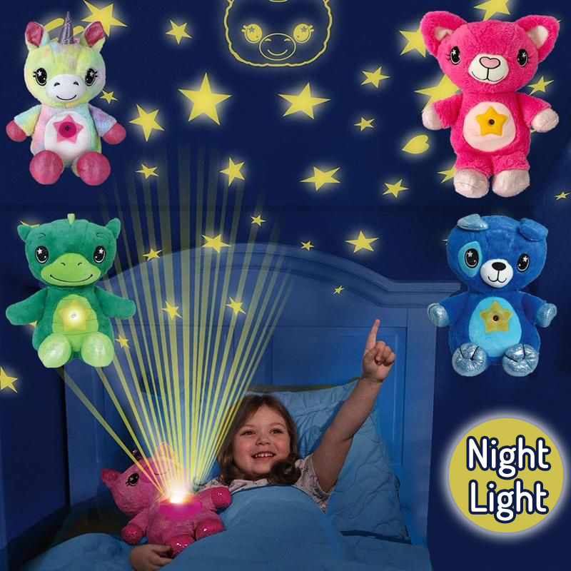 Star Night Light Star Projector Plush Toy Birthday Party Kids Gifts Starry Galaxy Projection Belly Lamp Bedroom Decoration