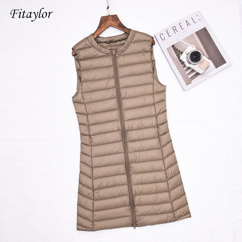Fitaylor New Women Ultra Light White Duck   Down   Jacket Medium Long Vests   Down     Coat   Female Casual Zipper Outerwear