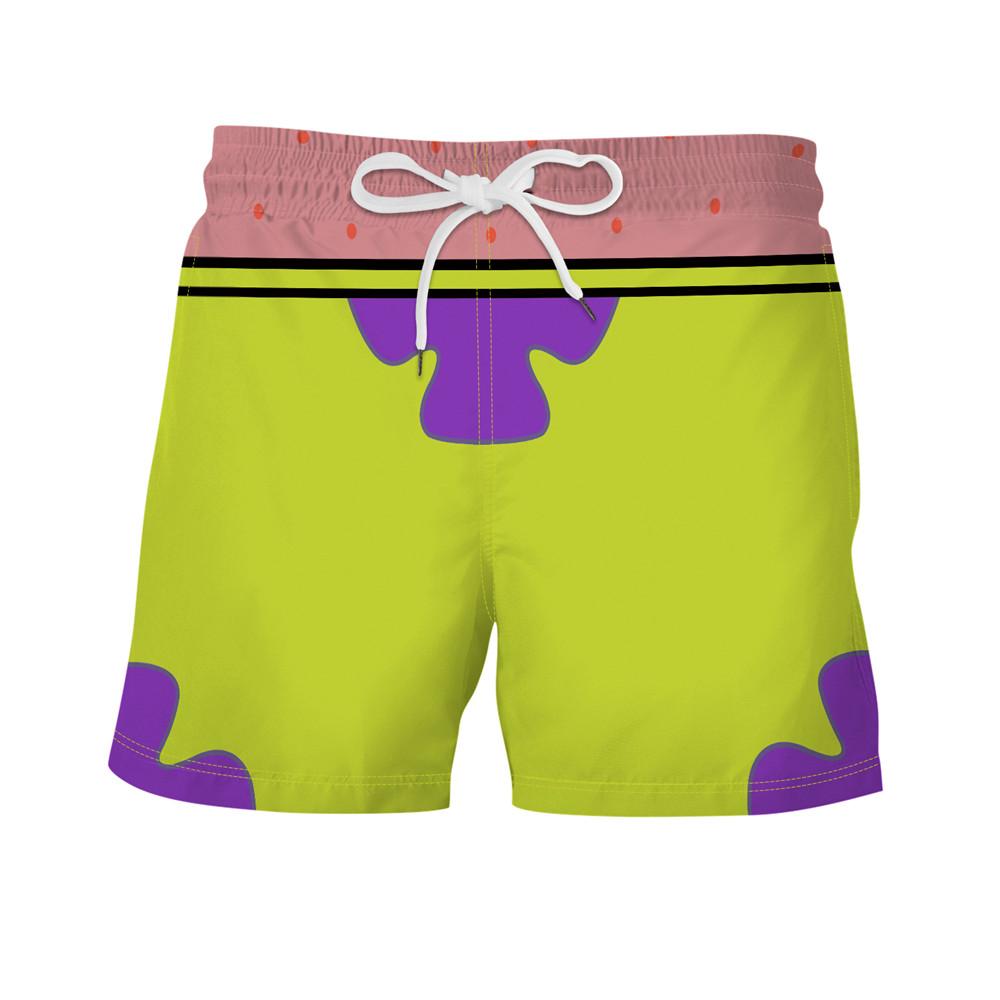 2020 Summer Men's Shorts Casual Beach Shorts Quick Dry Men Shorts Beachwear Short Patrick Star Print