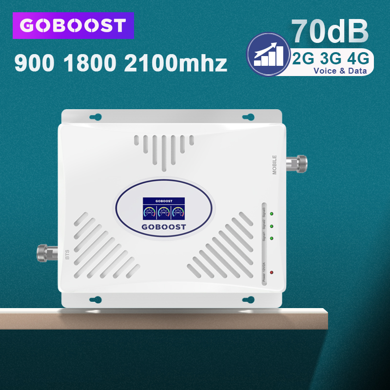 GSM Repeater 2G 3G 4G Signal Booster 900 1800 2100 Tri Band Cell Phone Amplifier 3G 70dB GSM Cellular Amplifier 4G DCS WCDMA ACL