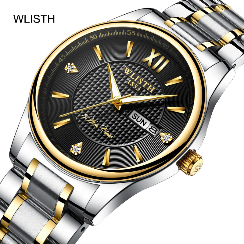 WLISTH Couple Watch Men Watches Top Brand Luxury Quartz Watch Steel Women Clock Waterproof Wristwatch Fashion Casual Lover Watch