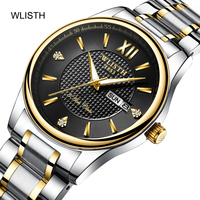 WLISTH Couple Watch Men Watches Top Brand Luxury Quartz Watch steel Women Clock waterproof Wristwatch Fashion Casual lover Watch