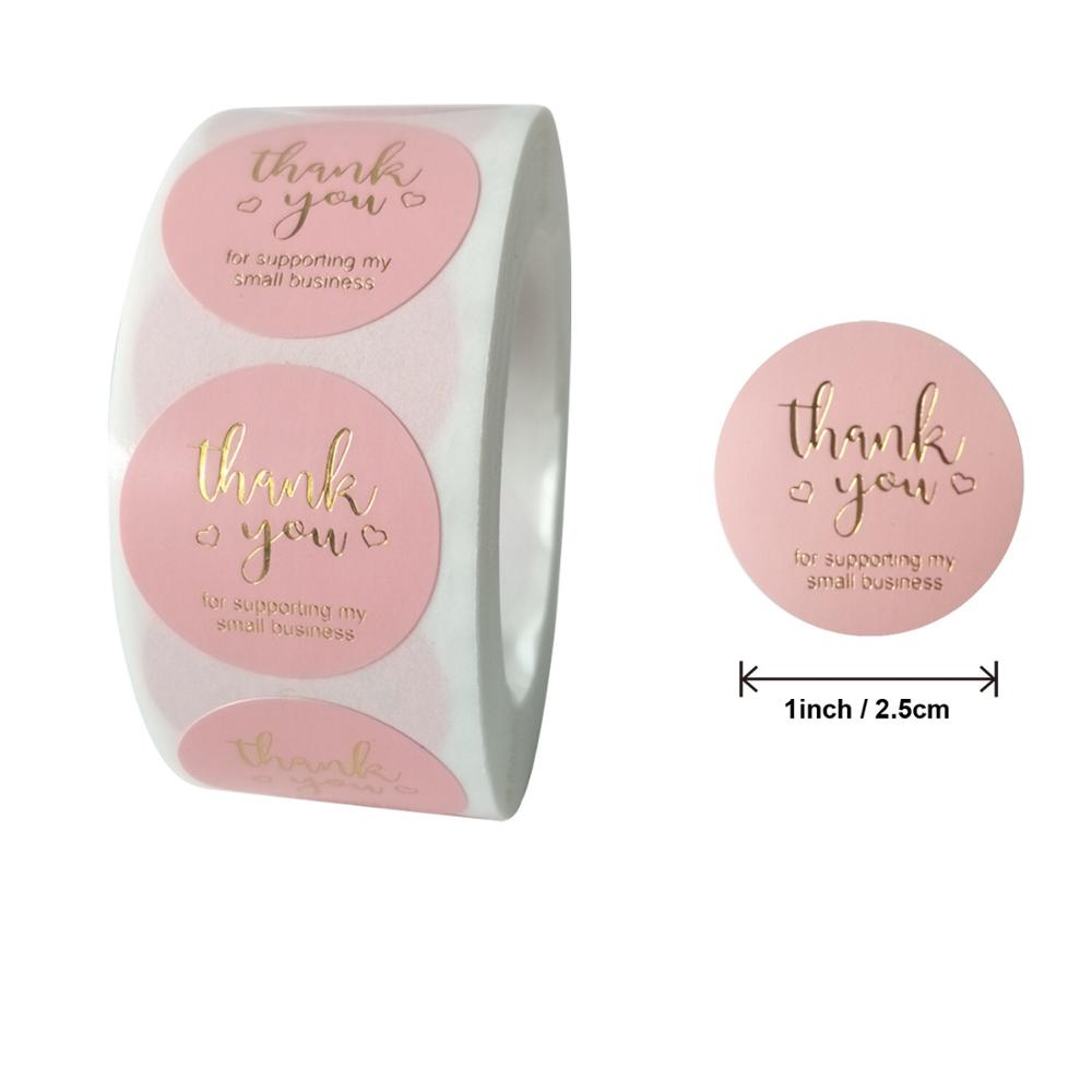 500 Pcs Pink Business Label Stickers Gold 1 Inch Round Paper Thank You Stickers For Baking Seal Labels Packing Shipping Stickers
