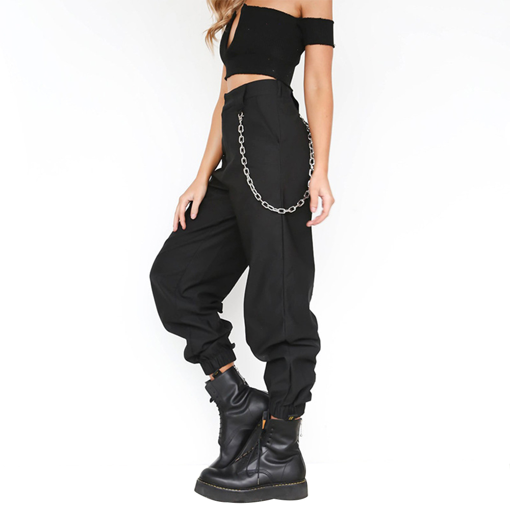 Puimentiua Streetwear Cargo Pants Women Casual Joggers Black High Waist Loose Female Trousers Korean Style Ladies Pants 2019