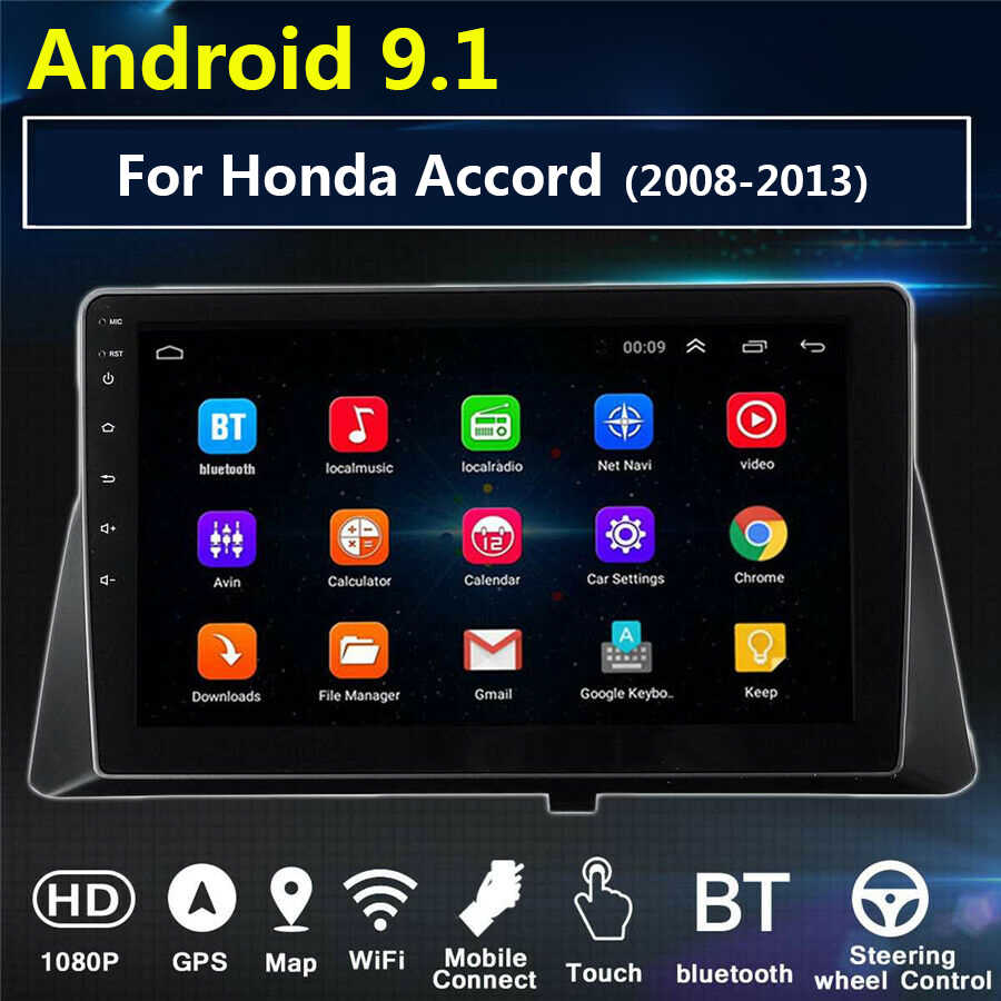 10.1 Inch 2 Din Auto Audio Radio Android 9.1 Voor Honda Accord 2008-2013 Autoradio 2din Gps Auto Multimedia video Speler Bt Wifi
