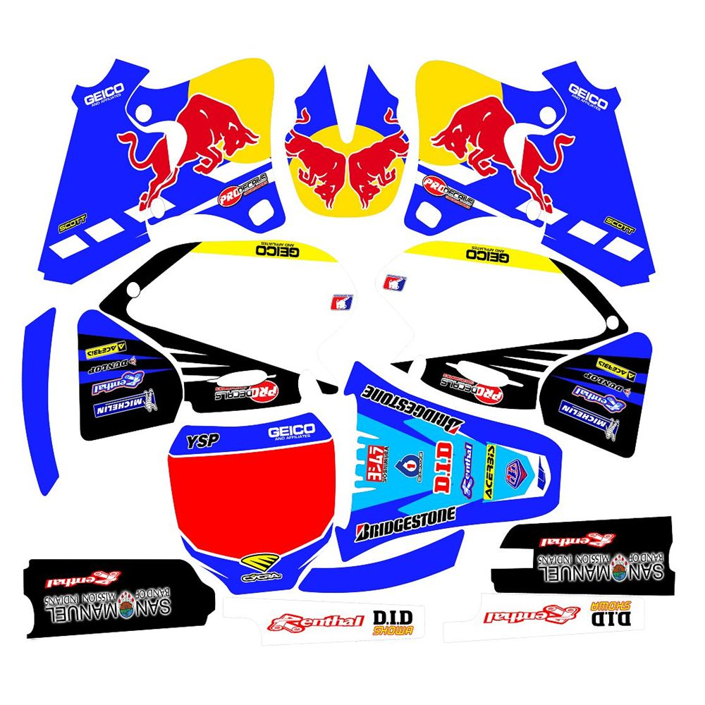For YAMAHA YZF250 400 426 1998 1999 2000 2001 2002 Full Graphics Decals Stickers Custom Number Name 3M Matte Stickers