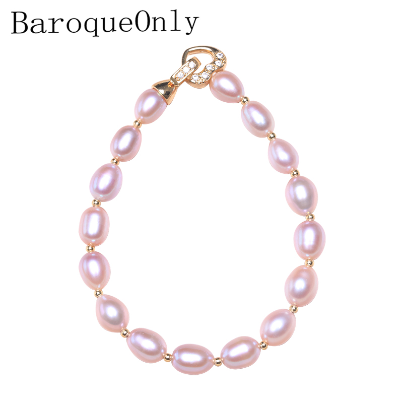 BaroqueOnly heart clasp oval pearl bracelet natural irregular freshwater pearl mix color multiple size gift for girl HQC