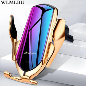 R1 Automatic Clamping 10W Car Wireless Charger For iPhone Xs Huawei LG Infrared Induction Qi Wireless Charger Car Phone Holder(China)
