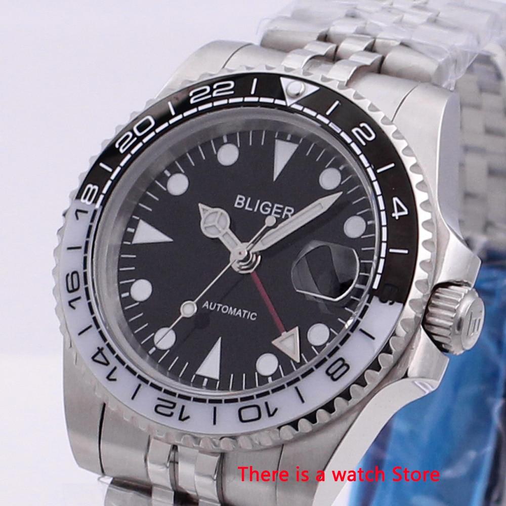 Bliger 40mm Automatic Mechanical Men Watch Luxury Sapphire Crystal Vintage Clock GMT Watch Luminous Waterproof Wristwatch Men