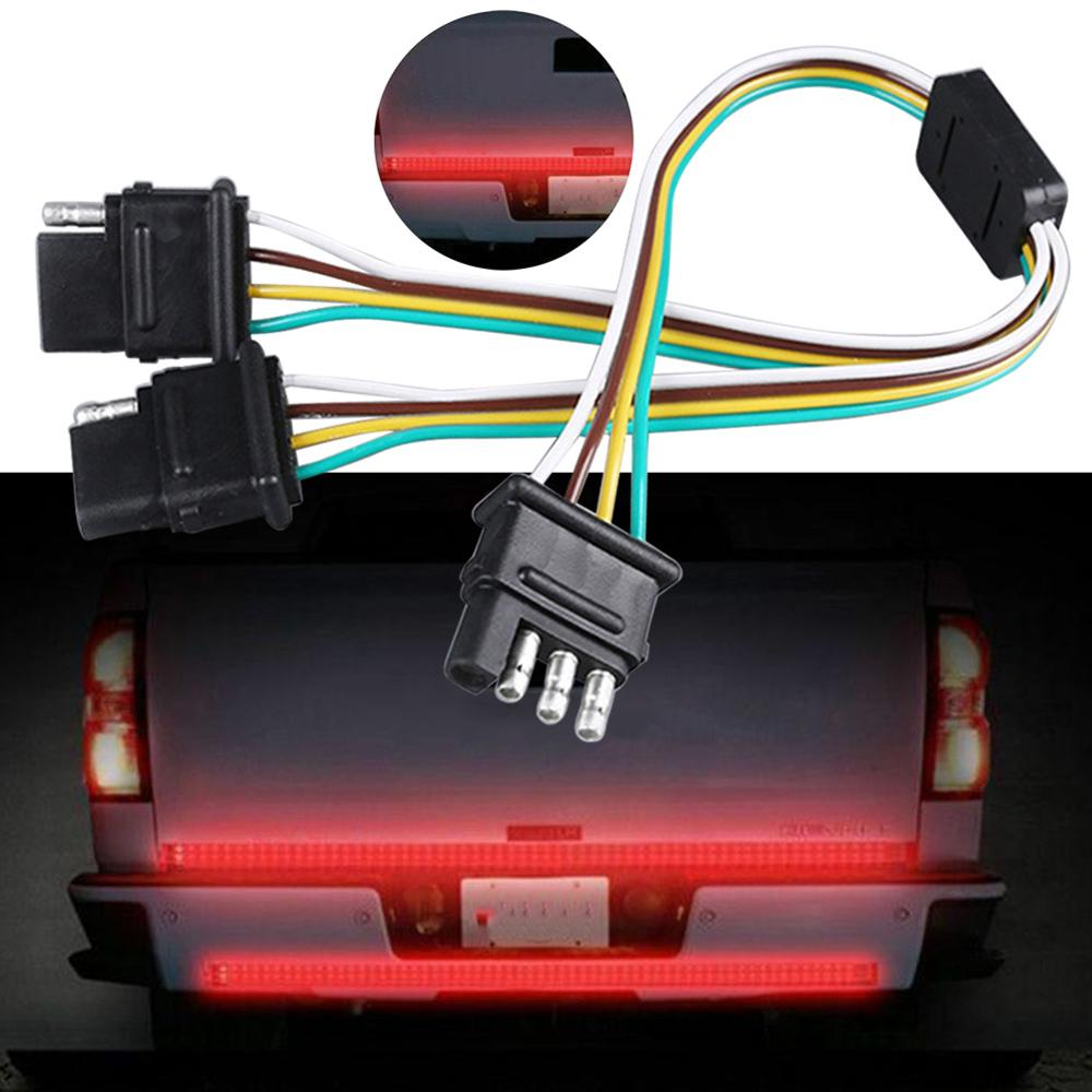 Trailer Light Wiring Harness Add 4-Pin Plug 4 Way Flat Adapter Wire Connector