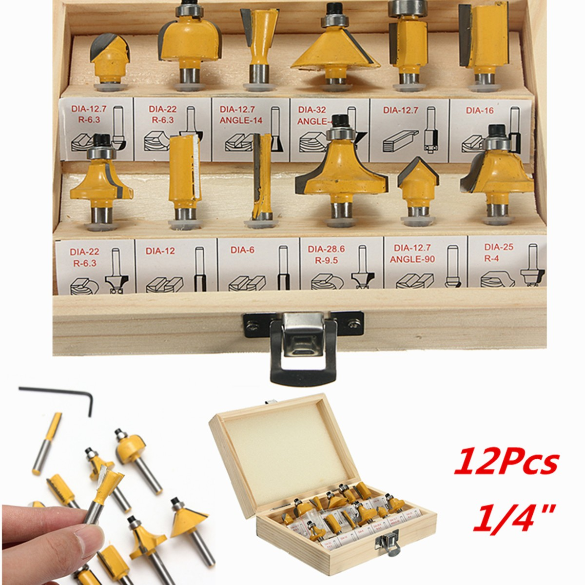 12PCS 1/4 Inch Wood Milling Cutter Shank Router Bit Set Trimming Machine Tool For Electric Trimmer Wood Work Cutting Kit