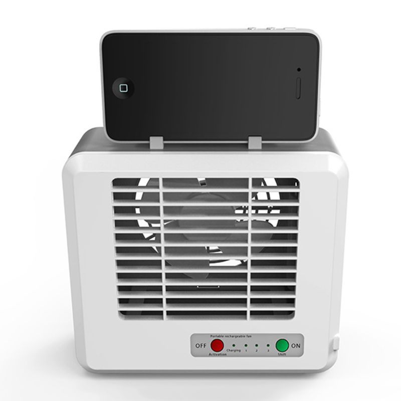 Mini Portable USB Air Conditioner Cooling Fan Desktop Space Cooler Personal Space Mute 2 Water Tank 3 Modes Phone Holder For Sum