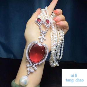 Image 5 - Mão atada branco natural pérola de água doce luxo multicamadas camisola corrente colar moda jóias