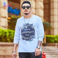 Plus Size 135kg men T Shirt Letter Printed Men's Tee Shirts O-neck Long Sleeve T Shirt Casual High Street Tees Streetwear Autumn