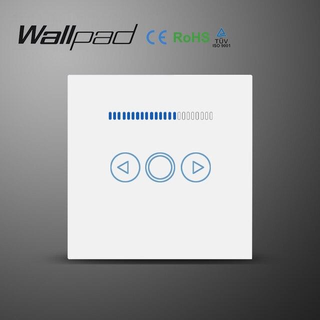 Wallpad reino unido padrão da ue painel de vidro novo 220 v controlador ajustável led toque dimmer interruptor de parede para pode ser escurecido lâmpada