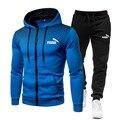 Новый спортивный костюм для мужчин, комплект из двух предметов, мужская спортивная одежда, толстовка на молнии + штаны, спортивные костюмы, п...