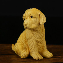 Wood Carving Dog Statue Crafts Boxwood Mini Desktop Handicrafts Decoration Ornament Funny Toy Gift Sculpture GY53(China)