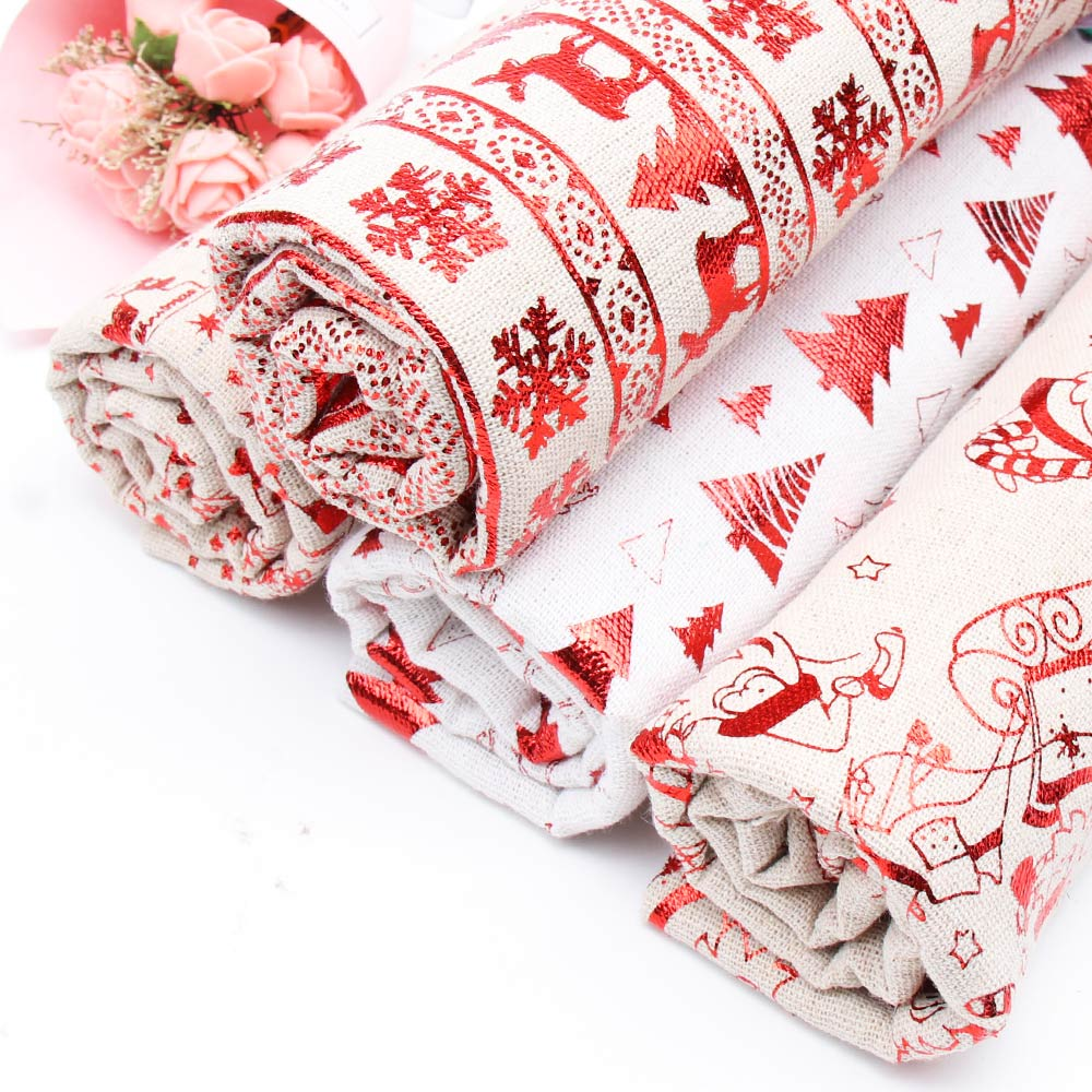 45CM*150CM Christmas Reindeer Printed Fabric <font><b>Cotton</b></font> <font><b>Linen</b></font> Foiled Materials DIY Apparel Sewing Fabric Home Textile Clothes image