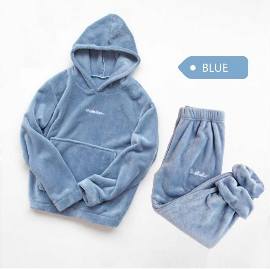 Conjunto de pijama de franela de invierno, pijamas de lana para mujer, ropa de casa, pijama femenino de terciopelo Coral grueso tibio, pijama