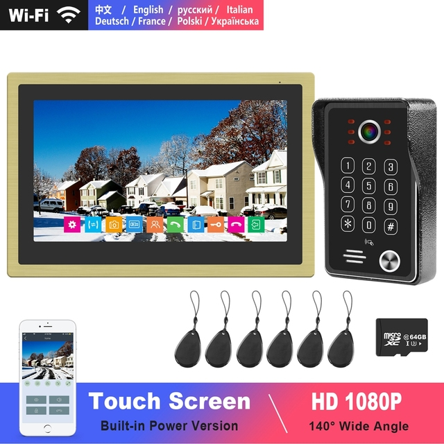 WiFi וידאו אינטרקום IP פעמון 10 אינץ מגע מסך 1080P לוח מקשים פעמון שיחת פנל זיהוי תנועה חכם טלפון APP שליטה