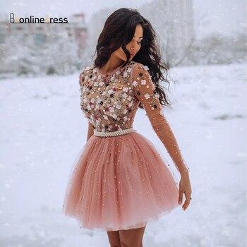 Elegant Homecoming Dress Tulle Crystal Short Party Long Seeves Above Knee Mini Graduation Dresses vestido de cocktail
