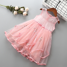 0-6 years High quality girl dress new summer lace mesh solid kid children clothing party formal princess 40