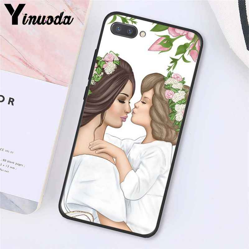 Yinuoda ファッション黒茶色の髪赤ちゃんのママガールの女王電話ケース Huawei 社の名誉 8A 8 × 9 10 20 lite 7A 5A 7C 10i 20i