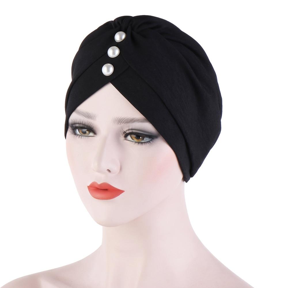Muslim Women Hijab Solid Color Turban Beanie Bonnet Islamic Headwear Inidan Headscarf Wrap Hair Loss Covers Arab Chemo Cap Scarf