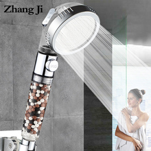ZhangJi Bathroom 3-Function SPA shower head with switch on/off button high Pressure Anion Filter Bath Head Water Saving Shower цена