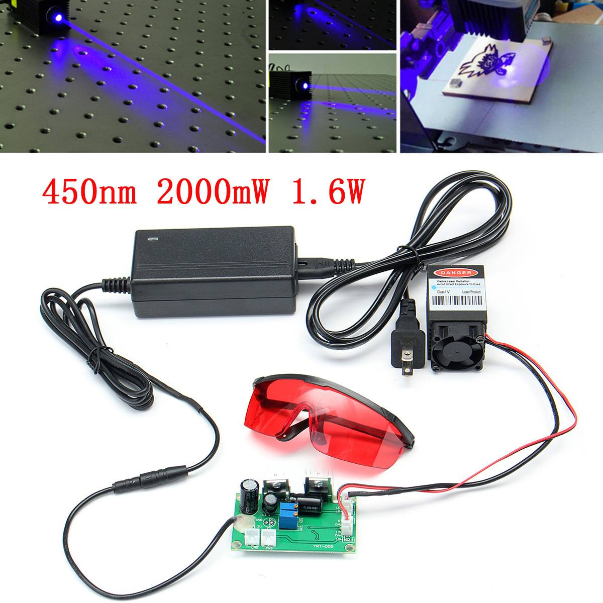 High  445NM Blue Laser Module Laser Engraving And Cutting TTL Module 2000mW Laser Tube+Goggles