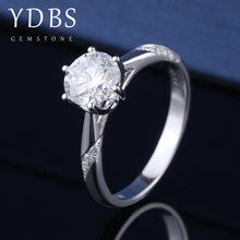 YDBS 14k white gold 1ct Lab Grown Diamond Moissanites 6 Prongs Solitaire with Accents Engagement Ring DF Color VVS1