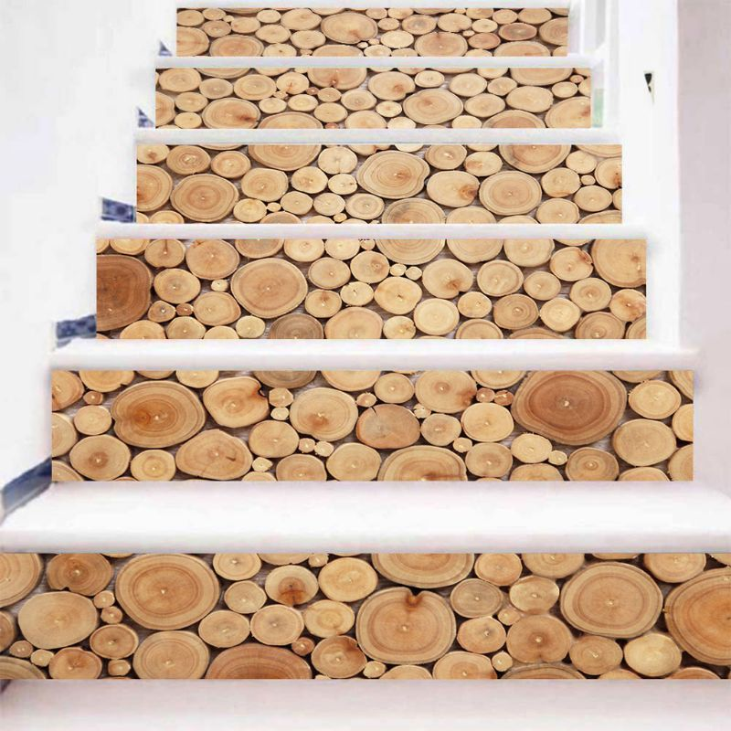 6pcs 3D Wood Block Staircase Stair Riser Floor Sticker Self Adhesive DIY Stairway Waterproof PVC Wall Decal Home Decor in Wall Stickers from Home Garden