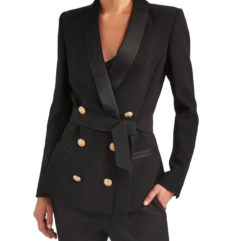 Original Design Women Blazers And Jackets 2018 Autumn Winter Fashion Double Breasted Metal Buttons Slim Was Thin Blazer Feminino
