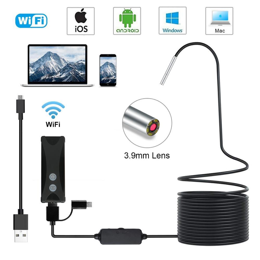 3.9mm wifi borescope endoscópio câmera ip67 à prova dip67 água cobra câmera com 6 luzes led para android e iphone, ios samsung pc