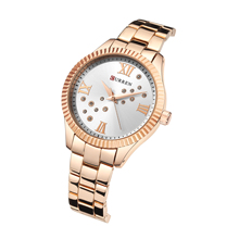 CURREN Relogio Feminino Fashion Diamond Female Watch Rose Gold Stainless Steel Chic Dial High Quality Waterproof Ladies Watches